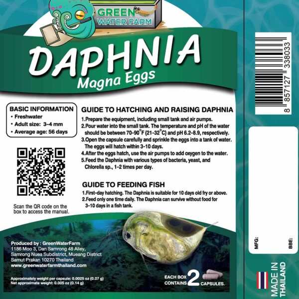 Daphnia product packaging back side